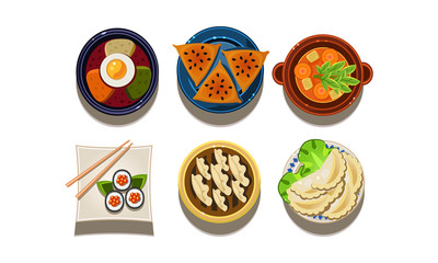 Flat vector set of cartoon food icons. Chinese and Korean cuisine. Traditional Asian food. Tasty meal