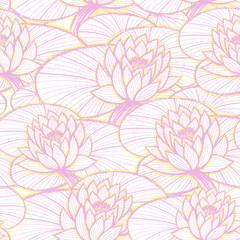 Ink hand drawn lotus seamless pattern pink