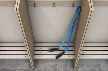 Change Room Cubicles With Hockey Sticks