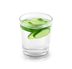 Glass of fresh cucumber water on white background