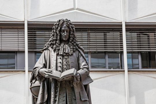 Monument to Gottfried Wilhelm Leibniz, a German scientist and philosopher. Education in Leipzig concept