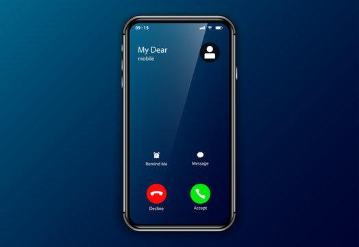 iphone incoming call screen user interface. elegant mockup ui ux smartphone template. realistic phone frame design