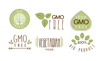 Vector set of colorful food emblems with text. GMO free. 100 natural product. Healthy eating theme