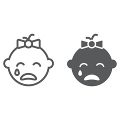 Baby girl cry line and glyph icon, emotion and child, face sign, vector graphics, a linear pattern