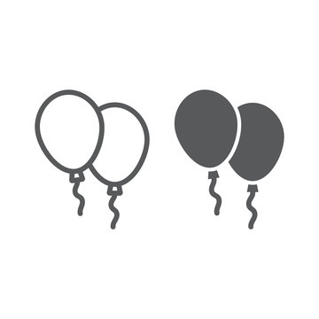 Balloons line and glyph icon, air and helium, toy sign, vector graphics, a linear pattern on a white background.