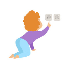 Cute toddler baby touching an electrical socket, kid in dangerous situation vector Illustration on a white background