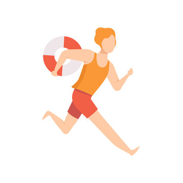 Male lifeguard character running with lifebuoy, professional rescuer character working on the beach vector Illustration on a white background