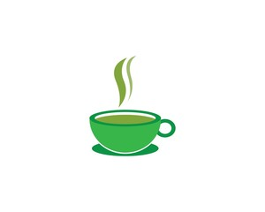 Cup of tea vector icon logo template