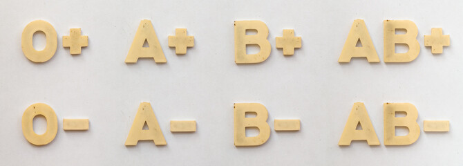 bright plastic blood groups with magnet on white paper