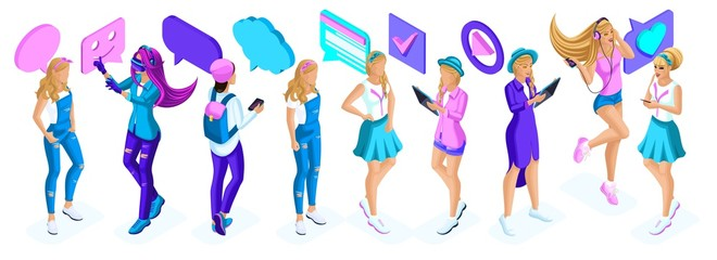 Isometry a large set of adolescent girls, generation Z, communication icons, gadgets, video on the Internet, social networks