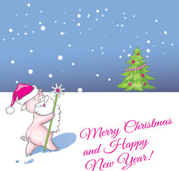 Christmas New year of the pig greeting card with funny cute cartoon pig Santa.