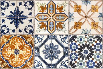 Deurstickers Marokkaanse Tegels Wall from colorful ceramic tiles for background.