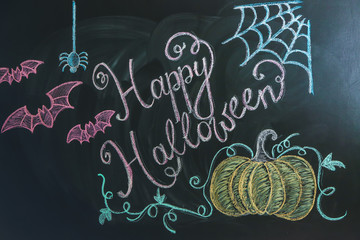 "Drawings with text ""Happy Halloween"" on dark background"