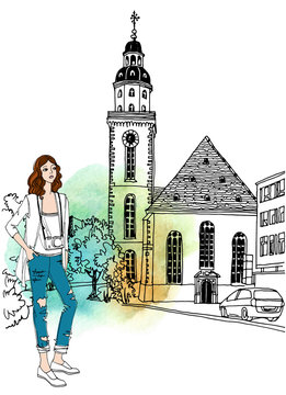 Urban line sketch with landscape of the old European city with pretty girl with camera. Old square in front of the church in hand drawn style on white background