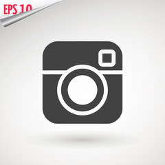 Camera icon, flat photo camera vector isolated. Modern simple snapshot photography sign. Instant Photo internet concept. Trendy symbol for website design, web button, mobile app. Logo illustration.