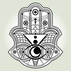 Hamsa hand. hand of Fatima, vector illustration