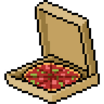 vector pixel art pizza box