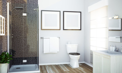 bathroom with two white frames mockup