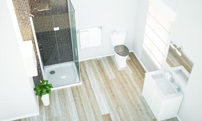top view of a minimal bathroom