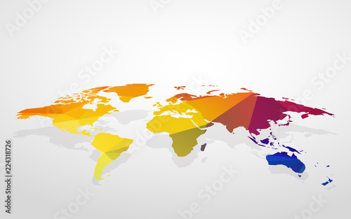 Color Blank World Map Fake 3D