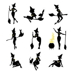 Set of black witch silhouettes on white.