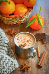 Hot liquid chocolate with winter spices