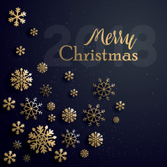 Vector illustration of merry christmas 2018 gold and black collors place for text