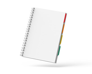 Open blank notebook with tags