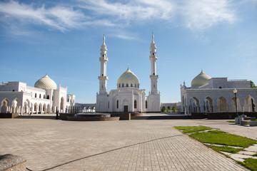 White mosque under construction in Bolgar, Tatarstan, Russia