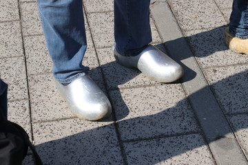 Dutch people walking on clogs during the clog walk in town of Zevenhuizen, The Netherlands,