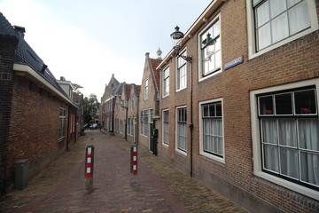 Ancient buildings on the streets of city Haastrecht in the Netherlands.