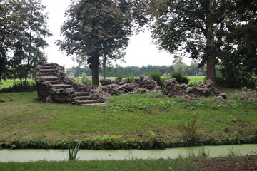 Park Bisdom van Vliet in Haastrecht with old graves and remains in the Netherlands.