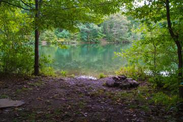 Camp Site On Lake Shore Early Autmn