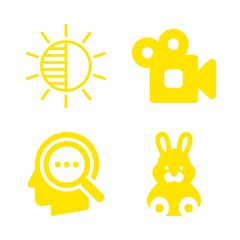 4 minimal icons with camera brightness and analogic video camera in this set
