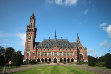 Peace palace in the hague, home of the united nations international court of justice and the Permanent Court of Arbitration in the Netherlands