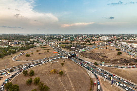High view point cityscape of Accra, Ghana. Traffic jam on the Tetteh