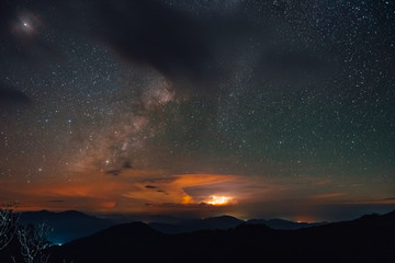 Mountain views, stars and the Milky Way, on the day of mangkhut storm.Located about 1,633 meters above sea level, Phoosoidao, Uttaradit, Thailand.