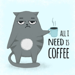 Cute blue cartoon hand drawn cat with cup of coffee. Cat holding a cup.