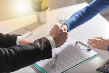 Business agreement with handshake