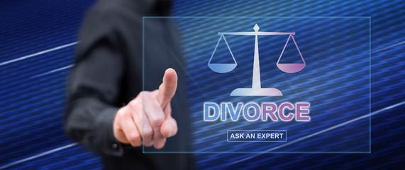 Man touching an online divorce advice website