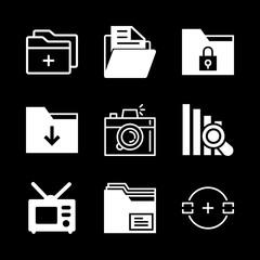 visual icons set with camera target, television and folder vector set
