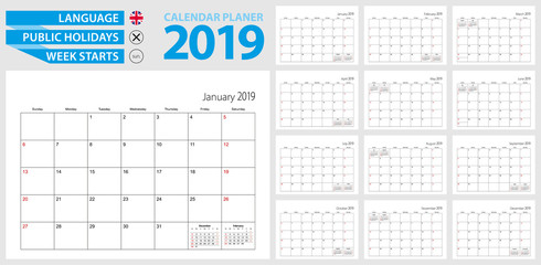 Wall calendar planner for 2019. English language, week starts from Sunday.