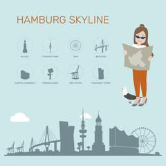 Hamburg Skyline blau