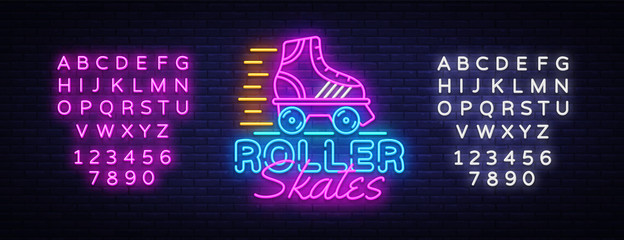 Roller Skates Neon Sign Vector. Retro quad roller skates neon logo, design template, modern trend design, night neon signboard, night bright advertising, light banner. Vector. Editing text neon sign