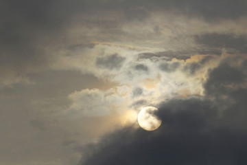 A sun similar to the full moon seen from the cloudy sky