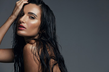 Beautiful Sexy Woman With Fashion Makeup And Long Wet Hair