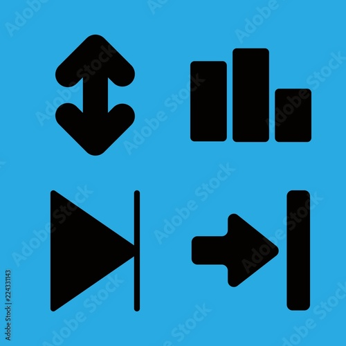 Perspective Icons Set With Double Up And Down Arrow Symbol Next And