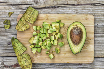 Avocado, diced, raw for salad, diet food, healthy snack,