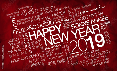 happy new year 2019 international greetings eve language words text tag cloud