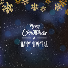 Elegant Christmas Background with Shining Gold Snowflakes. Vector, illustration, eps10
